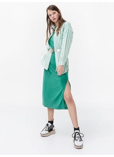 Twist Çizgili Gömlek Yeşil